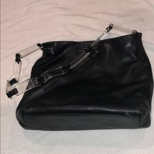 Prada black leather bag with Lucite handles